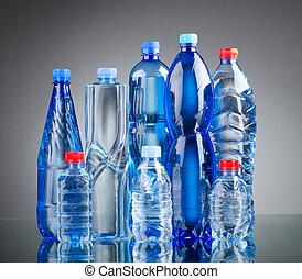 bottiglie acqua, come, bevanda sana, concetto