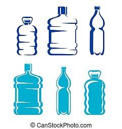 bottiglie acqua, pulito, silhouette, set, plastica, simboli
