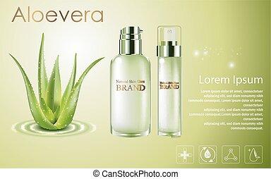 bottiglie, aloe, cosmetico, vera, spruzzo, verde, annunci