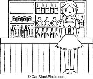 bottiglie, bavarese, donna, sbarra, bibite