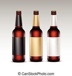 bottiglie birra, etichette, vetro, isolato, marcare caldo, scuro, su, vettore, dorato, marrone, chiuso, chiudere, set, nero, trasparente, fondo, vuoto, bianco rosso