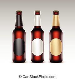 bottiglie birra, etichette, vetro, rotondo, isolato, marcare caldo, scuro, su, vettore, dorato, marrone, chiuso, chiudere, set, nero, trasparente, fondo, vuoto, bianco rosso