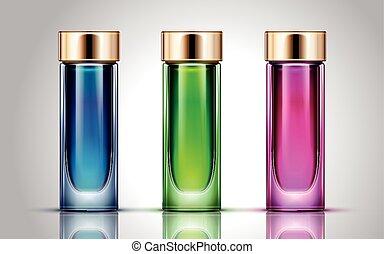 bottiglie, cosmetico, colorito