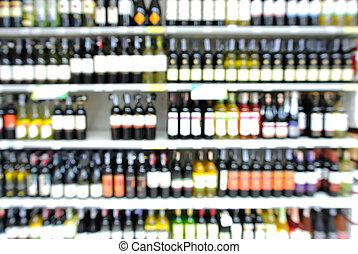 bottiglie, defocus, mensola, astratto, supermercato, fondo, offuscamento, o, vino