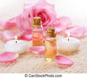 bottiglie, di, olio essenziale, per, aromatherapy., rosa,...