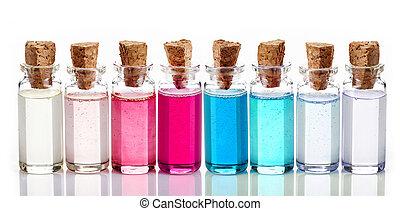 bottiglie, di, terme, olii essenziali
