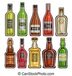 bottiglie, differente, vettore, set