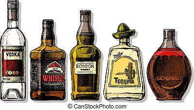 bottiglie, distillato, alcohol., bevanda