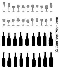 bottiglie, e, occhiali