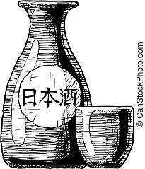 bottiglie, giapponese, alcool