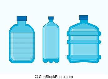 bottiglie, icone, plastica, vettore, vuoto, coperchi