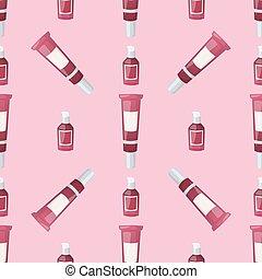 bottiglie, illustration., bellezza, liquido, trucco,...