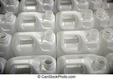 bottiglie, in, fabbrica, file, bianco, plastica