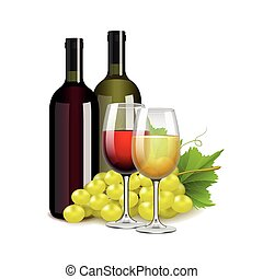 bottiglie, isolato, vettore, uva, bianco, occhiali, vino