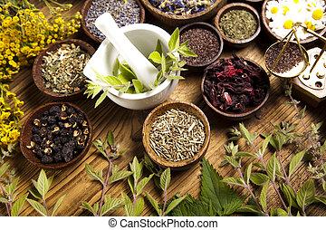bottiglie medicina, e, erbe, naturale, colorito, tono