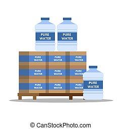 bottiglie, minerale, refrigeratore, grande, plastica, acqua