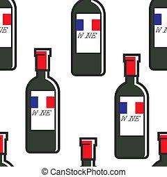 bottiglie, modello, viaggiare, seamless, francia francese,...