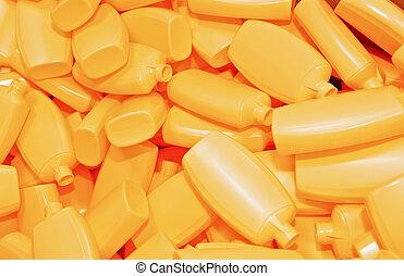 bottiglie, mucchio, giallo, plastica