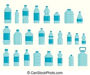 bottiglie plastica, set, acqua