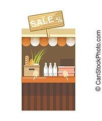 bottiglie, segno, contatore, vendita, latte fresco, bread