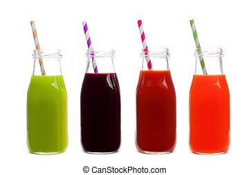 bottiglie, succo, verdura, isolato, quattro, carota, fondo, barbabietola, verdura, pomodoro, bianco
