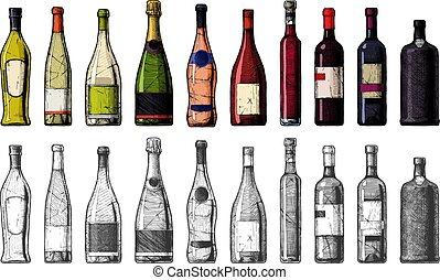 bottiglie, tipi, vino