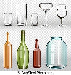 bottiglie, vetro, set., realistico, ans, trasparente, 3d