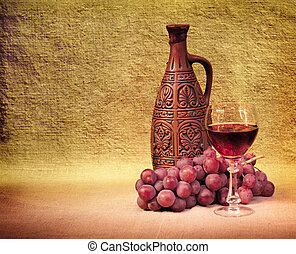 bottiglie vino, artistico, uva, disposizione