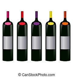 bottiglie, vino, cinque