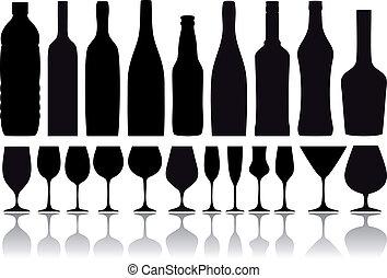 bottiglie vino, e, occhiali, vettore