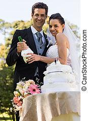 bottl, champanhe, recém casado, feliz