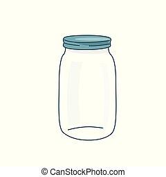 bottle., 空, 矢量, 泥瓦匠, 空白, 簡單, 玻璃, 卡通, 罐子, 背景, 套間, lid., 插圖, 帽子, 關閉