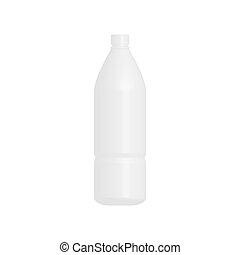 Bottle 3D icon. Mock up for water or milk bottle. Vector isolated on white