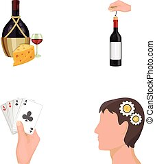 Bottle, a glass of wine and cheese, clogging with a ...