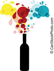 illustration of silhouette bottle with abstract colors