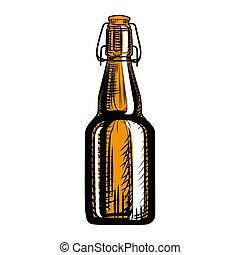 bottle., aislado, cerveza, mano, grabado, style., arte, ...