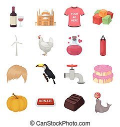 Bottle, alcohol, wine and other web icon in cartoon style. Building, castle, mosque icons in set collection.