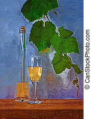 bottle and a glass of dry wine