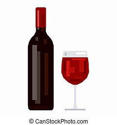 Bottle and a glass of red wine