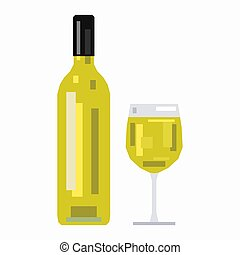 Bottle and a glass of white wine