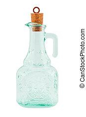 Bottle and cork isolated on white background