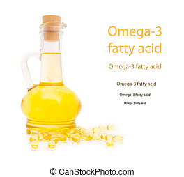 Bottle and gelatinous capsules with the cod-liver oil-omega3