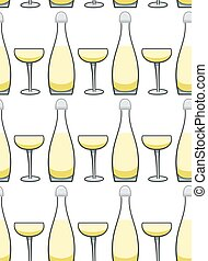 Bottle and glass of champagne seamless pattern
