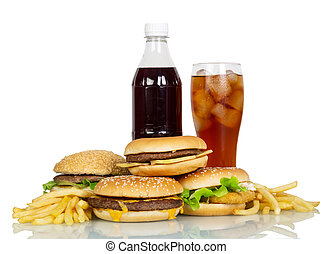 Bottle and glass of cola, hamburgers, french fries isolated.