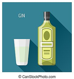 Bottle and glass of gin in flat design style.