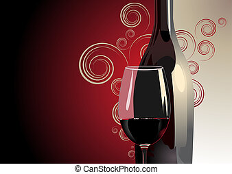 3d Illustration of a bottle and glass of red wine against a bicolour red and white background with gradient colour, decorative pattern and copyspace for a luxury background