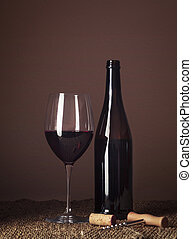 Bottle and glass of red wine