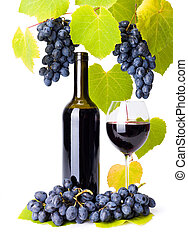 Bottle and glass of red wine whit grape clusters