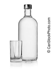 Bottle and glass of vodka