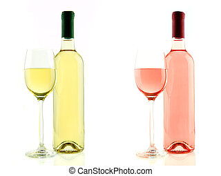 Bottle and glass of white and rose wine isolated